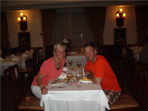 Shaun and Karen at dinner in Jamaica