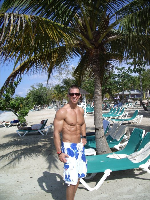 Shaun on the beach in Jamaica