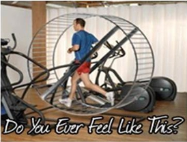 guy running on hamster wheel