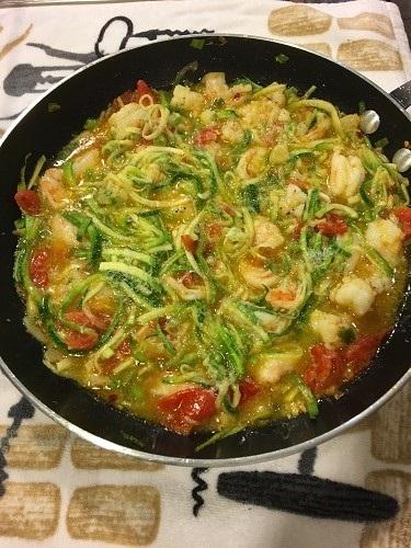 Zucchini Spirals with Shrimp
